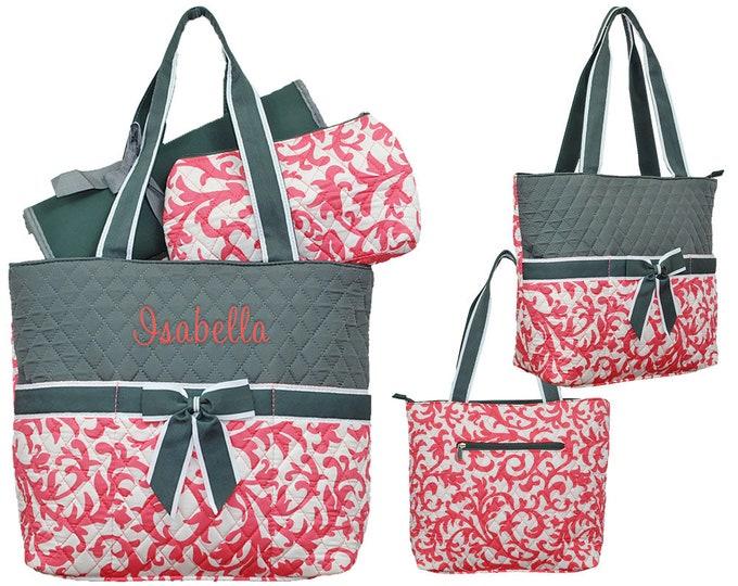 Monogram Diaper Bag | Personalized Diaper Bag | Diaper Bag | Nappy Bag | Personalized Shower Gift |  Changing Bag | Coral Damask Gray Trim