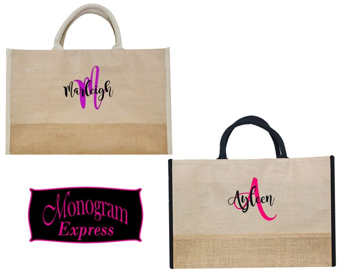 Personalized Juco Tote Bag | Travel Tote Bag |  Lined Bag | Work Tote Bag | Large Tote Bag | Bridal Party Gift | Natural Juco Tote With Trim