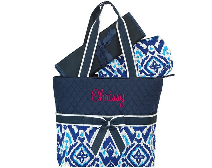 Personalized Infants Diaper Bag | Baby Diaper Bag | Toddler Diaper Bag | Monogrammed Diaper Bag | Baby Bag | Ikat Diamond Navy Diaper Bag