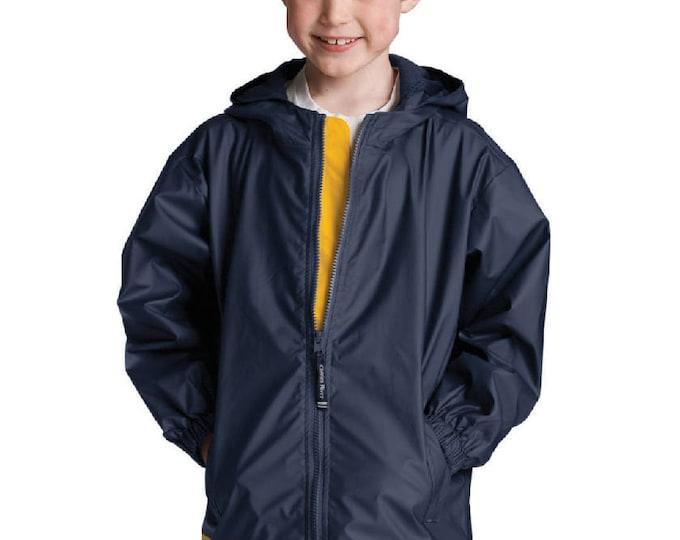 Monogrammed Navy Waterproof Rain Jacket | Personalized Childrens Unisex | Hooded Rain Coat | Youth Rain Jacket | Navy with Yellow Trim S-XL