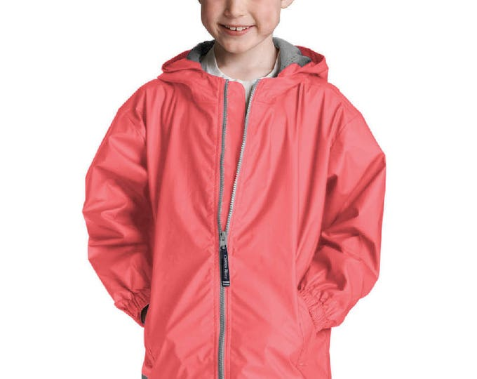 Monogrammed Coral Waterproof Rain Jacket | Full Zip Rain Jacket | Personalized Coral Unisex Hooded Rain Coat | Youth Rain Jacket Coral S-XL