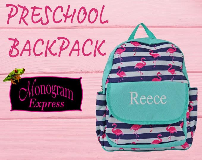 Personalized Flamingo Stripe Toddler Backpack | Flamingo Navy Striped Bag | Daycare Backpack | Girls Schoolbag | Monogrammed Backpack