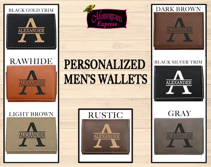 Personalized Tri-Fold Wallet | Men's Custom Wallet | Vegan Leather Wallets | Engraved Gifts From Him | Fathers Day Gift | Engraved Wallet