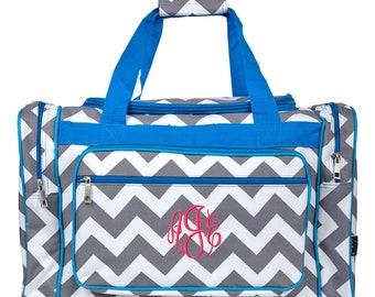 Monogrammed Duffle Bag Personalized Cheer Bag Monogram Dance Bag Girls  Overnight Bag Carry On Bag Grey Chevron Turquoise Trim Duffle Bag 20