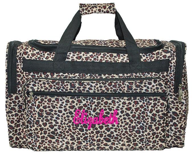 "Monogrammed Duffle Bag | Personalized Girl Duffel | Travel Duffle | Bridesmaid Gift | Cheer Team Bag | Dance Duffel | Leopard 22"" Duffle"