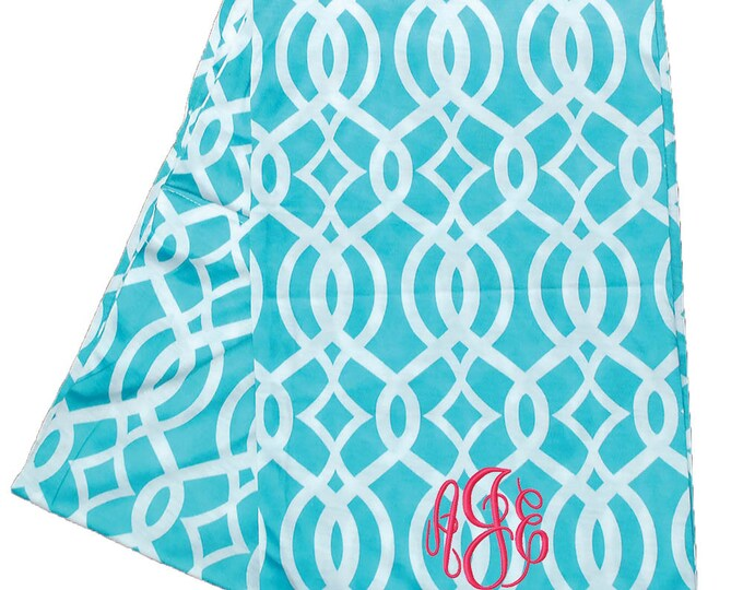 Monogrammed Infinity Scarf | Continuous Loop Aqua Infinity Scarf | Personalized Tube Scarf | Custom Gift | Aqua Coral Vine Infinity Scarf