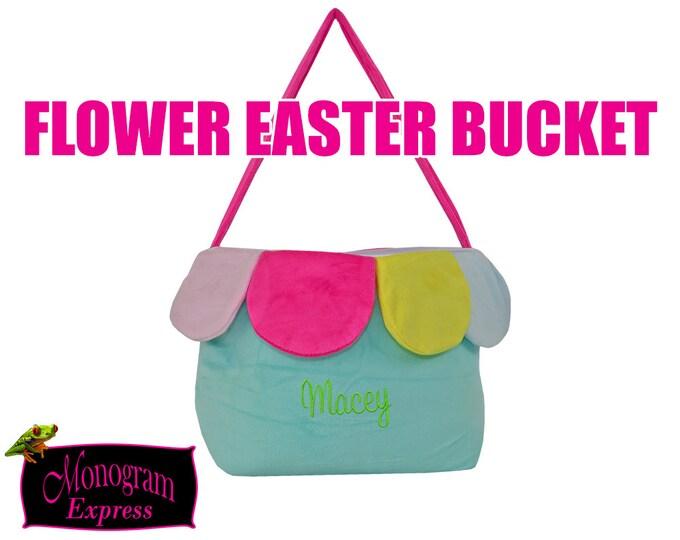 Monogrammed Easter Basket   Flower Easter Bucket   Childs Easter basket   Personalized Basket   Mint Flower Easter Bucket   Soft Basket  