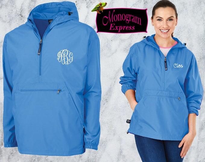 Monogrammed Quarter Zip Pullover | Personalized Adult Unisex Raincoat | Lightweight Hooded Quarter Zip Windbreaker | Columbia Blue Pack-N-Go