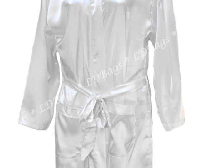 Personalized Satin Robe | Monogrammed Robe | Bridesmaid Gift | Short Satin Belted Robe | Wedding Robe | White Satin Kimono Robe Small/Medium