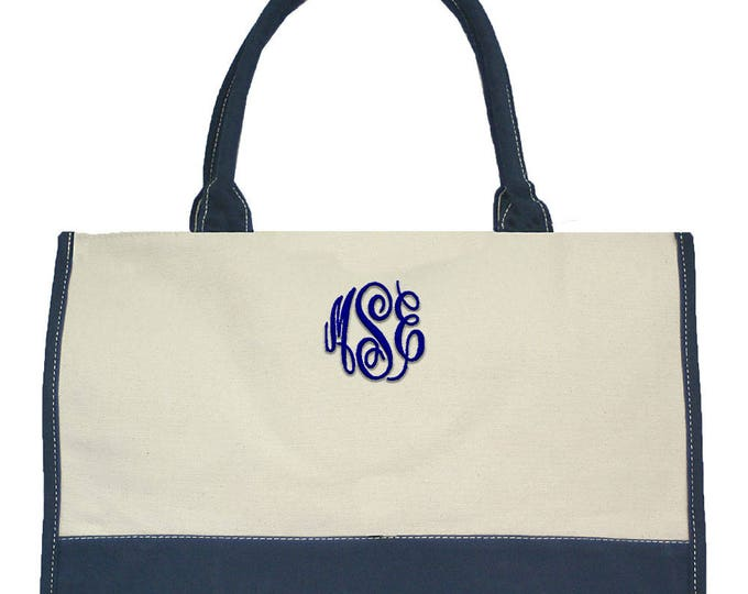Personalized Tote Bag | Monogrammed Tote | Personalized Gift | Heavy Duty Tote | Travel Tote | Market Tote Heavy Duty Canvas Beige Navy Trim