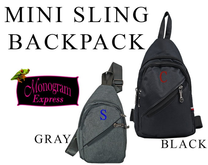 Personalized Small Sling Backpack | Men's Sling Bag | Boys Mini Backpack | One Strap | Everyday Mens Bag | Black Mini Sling Bag | Gray Bag