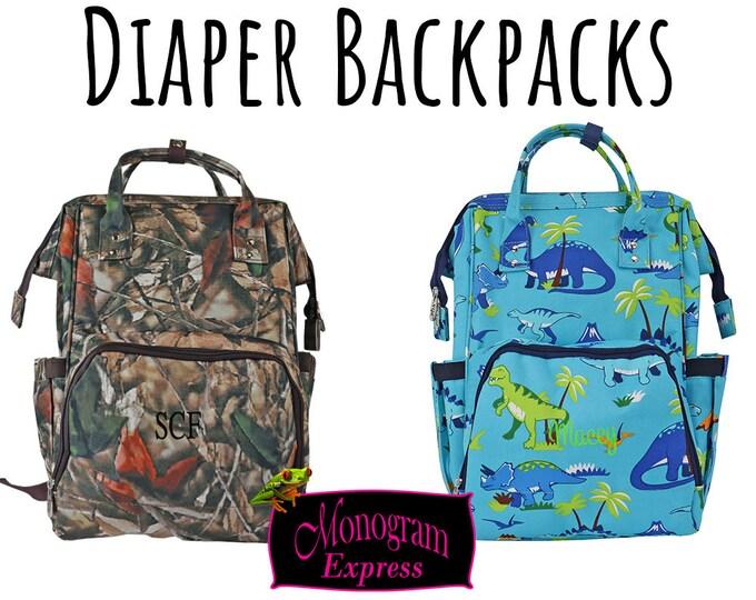 Personalized Diaper Bag | Boys Diaper Bag | Camo Diaper Backpack | Dino Diaper Backpack | Nappy Bag | Mom To Be Gift | Nappy Monogram Bag