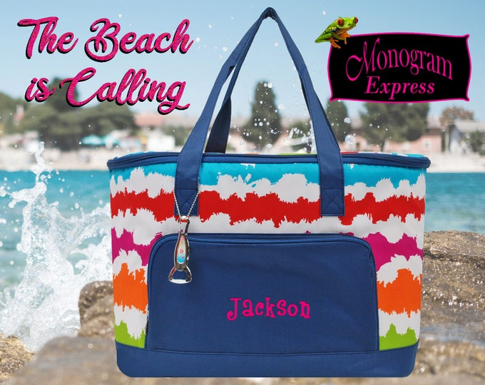 Personalized Beach Cooler | Insulated Drink Bag | Tailgate Cooler | Monogrammed Travel Cooler | Soft Sided Cooler | Rainbow Insulated Cooler