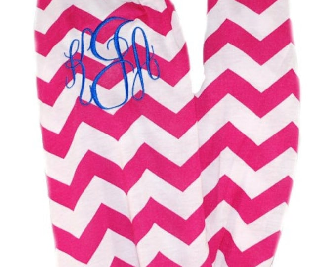 Monogrammed Scarf | Personalized Scarf | Pink White Scarf | Continuous Chevron Scarf | Personalized Gift Scarf | Pink Chevron Infinity Scarf