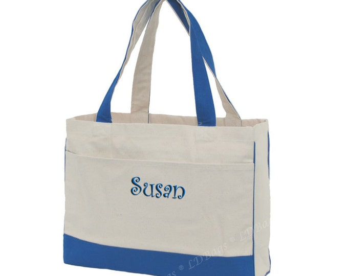 Monogrammed Blue Canvas Tote | Personalized Tote | Bridesmaid Gift | Beach Bag | Weekend Tote | Day Trip Tote | Boat Bag | Blue Canvas Tote