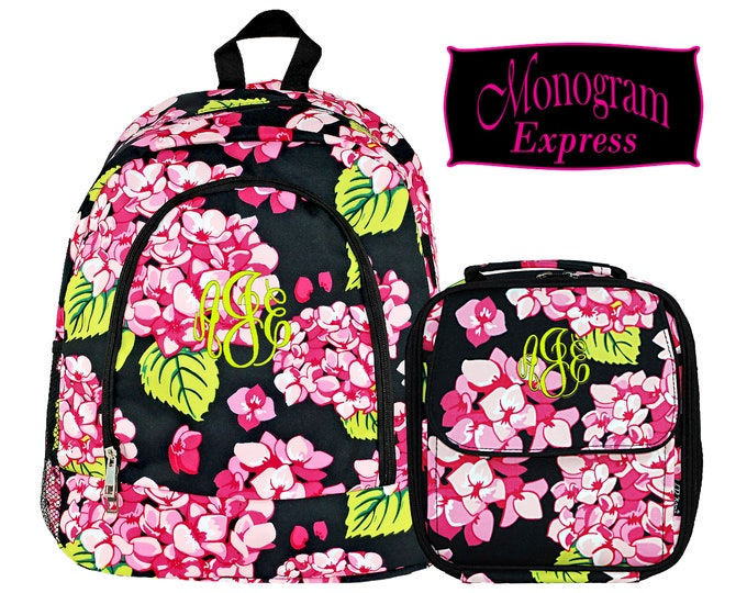 Personalized Hydrangea Backpack Lunch Box Matching Set | Girl Monogrammed Floral Backpack Insulated Lunch Bag Combo | Carolina Hydrangea Set