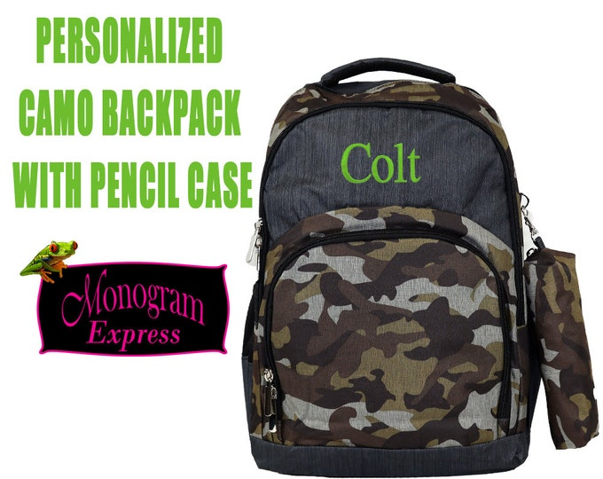 Boys Personalized Backpack | Neutral Camo Backpack | Backpack with Pencil Case | School Backpack for Boys | Back to School | Camo Print Gray