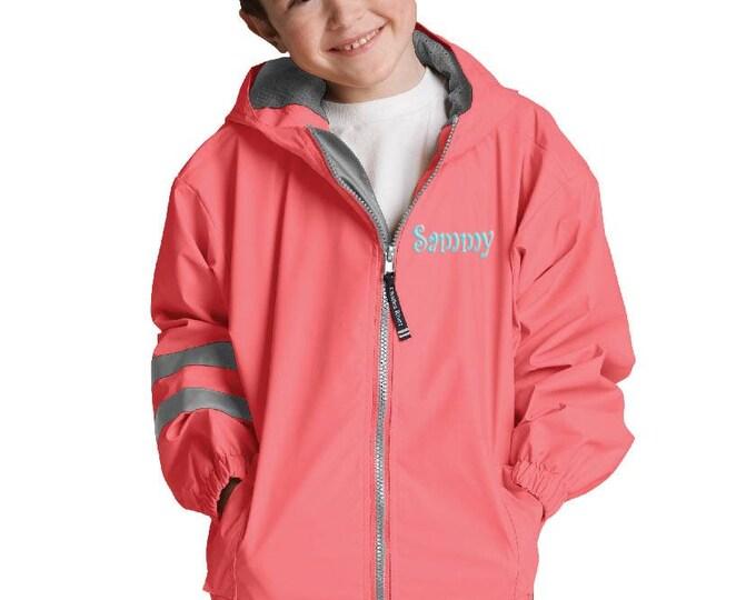Personalized Childs Rain Coat | Kids Rain Jacket | Childrens Rain Coat | Unisex Coral Rain Coat | Monogrammed Kids Rain Coat Coral 4-7