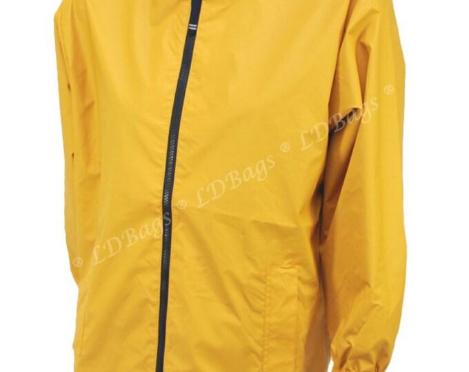 Monogrammed Yellow Rain Jacket | Yellow Waterproof Childrens Rain Jacket | Personalized Yellow Kids Coat | Yellow Hooded Navy Trim S-XL
