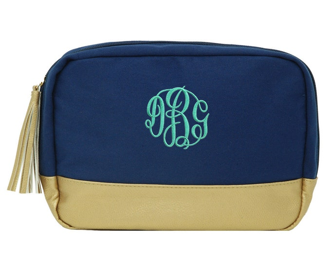 Personalized Cosmetic Bag   Monogrammed Womens Make-Up Case   Toiletry Bag   Wedding Party Gift   Embroidered Navy Gold Tassel Travel Bag