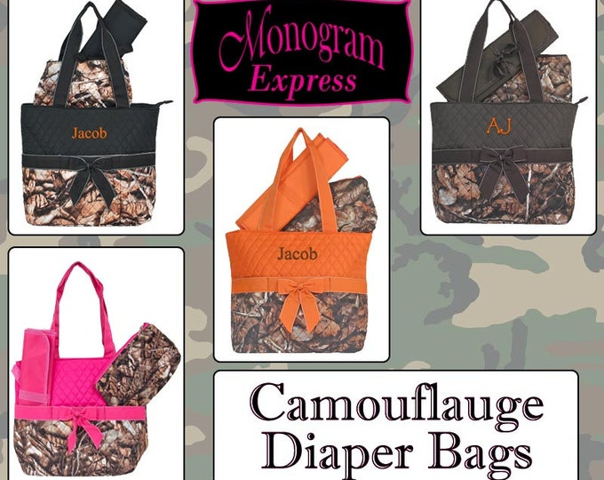 Monogrammed Diaper Bag | Personalized Diaper Bag | Quilted Bag | Camo Diaper Bag | Baby Bag | Changing Bag | Nappy Bag | Camouflage Diaper