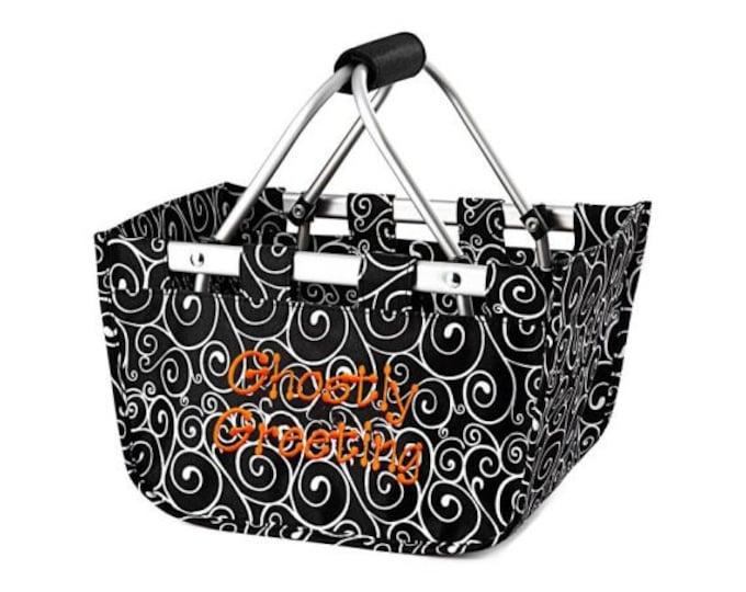"Monogrammed Mini Market Tote | Personalized Mini Market Basket | Halloween Basket | Toy Organizer | Black and White Swirl Market 12"" Tote"
