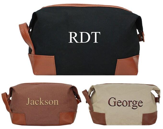 Personalized Toiletry Bag   Monogrammed Shaving Bag   Travel Bag   Dopp Kit   Travel Organizer   Groomsmen Gift   Canvas Brown Trim Dopp Kit
