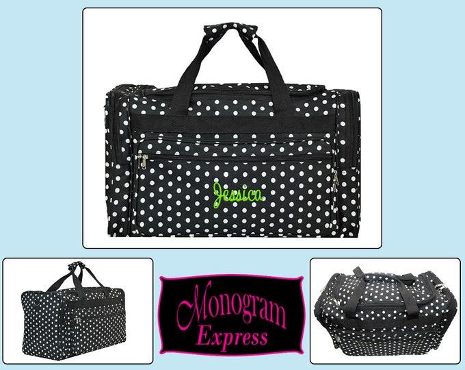 "Monogrammed Polka Dot Duffle Bag | Personalized Duffel Bag | Bridesmaids Gifts | Dance Bag | Travel Bag | Black with White Polka Dot 22"""