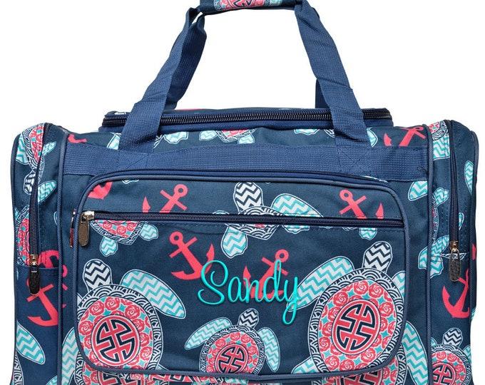 "Monogrammed Duffle Bag | Personalized Duffel Bag | Weekender Bag | Overnight Duffle | Girls Duffle Bag | Vacation Bag | Navy Sea Turtle 20"""