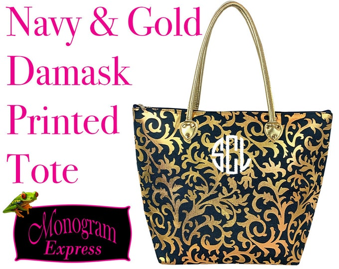 Navy and Gold Damask Tote | Personalized Tote Bag | Gold Foil | Teacher Gift | Bridesmaid Gift | Damask Printed Over the Shoulder Tote