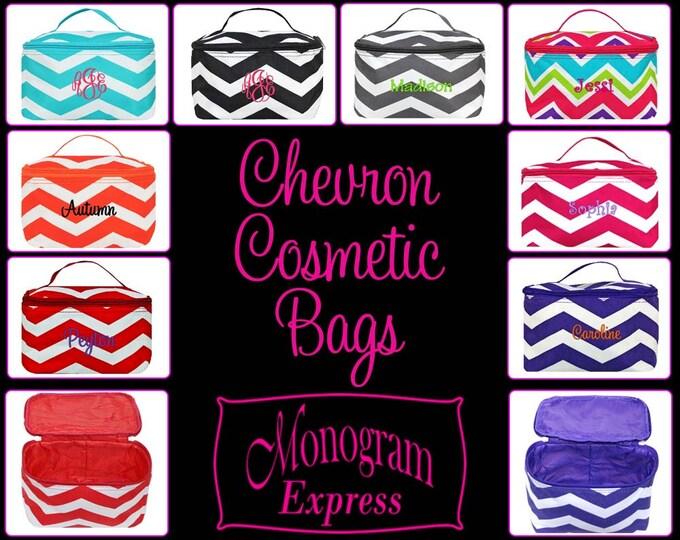 Monogram Makeup Bag   Personalized Cosmetic Case   Makeup Brush Holder   Monogrammed Cosmetic Bag   Make Up Bag   Chevron Cosmetic Bags