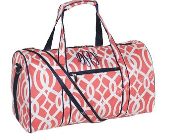 1ff24bc5ac Monogrammed Travel Bag Personalized Duffle Bag Monogrammed Gym Bag  Monogrammed Duffle Bag Small Overnight Bag Coral Vine 17 Inch Duffle Bag