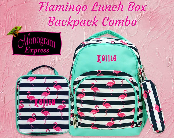 Personalized Pink Flamingo Mint Backpack Lunch Box Matching Set | Monogram Flamingo Backpack Insulated Lunch Bag Combo | Pink Flamingo Set