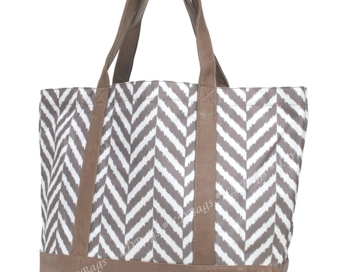 Monogrammed Tote Bag | Personalized Tote | Day Trip Tote | Shopping Bag | Custom Gift | Beach Bag | Herringbone Taupe Vegan Leather Handles