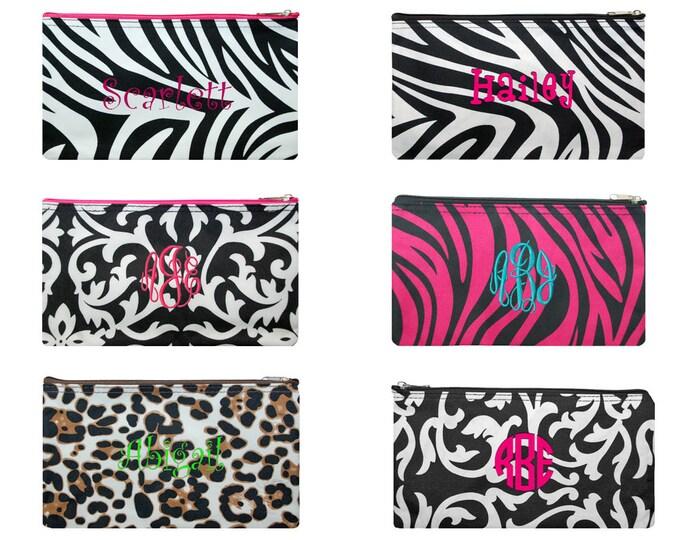 Monogrammed Cosmetic Bag   Personalized Cosmetic Bag   Travel Make Up Bag   Cosmetic Bag   Bridesmaid Gift   Pencil Bag   Small Cosmetic Bag