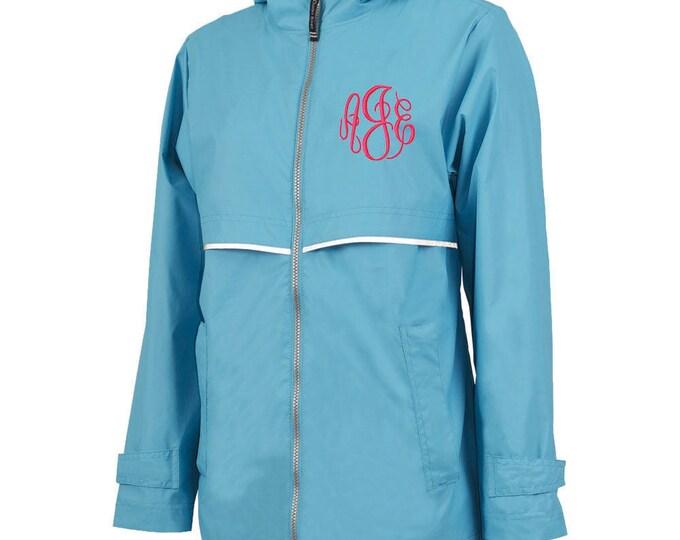 Monogrammed Womens Rain Jacket | Personalized Ladies Rain Coat | Hooded Mesh Lined Full Zip Reflective Trim | Rain Slicker | Wave Blue Grey