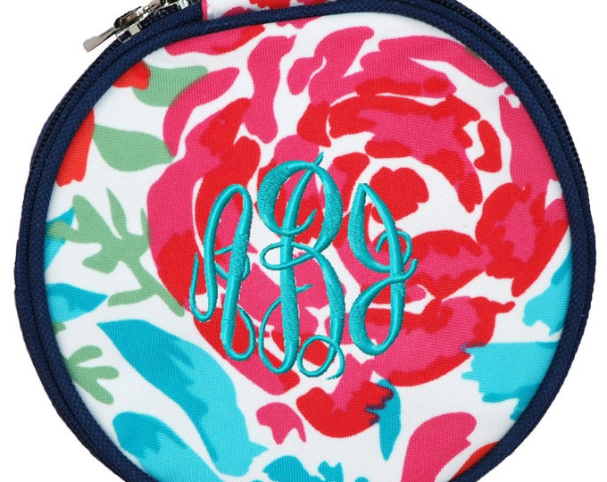 Personalized Jewelry Case   Monogrammed Travel Organizer   Jewelry Travel Bag   Zipper Organizer   Bridesmaid Gift   Round Floral Meadows
