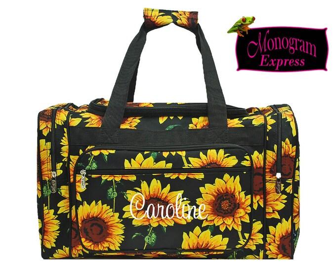 "Monogrammed Duffle Bag | Personalized Duffel | Overnight Bag | Travel Bag | Womens Weekender Bag | Teen Woman's Gift | Sunflower Duffel 20"""