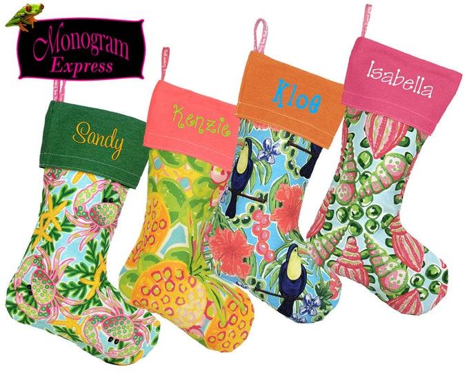 Monogrammed Christmas Stocking | Personalized Christmas Sock | Xmas Stocking | Embroidered Holiday Decor | Salt and Palms Holiday Stocking