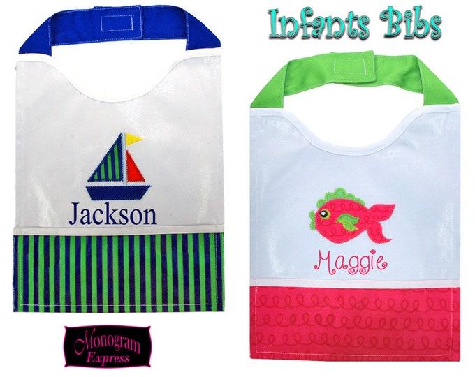 Personalized Baby Bib   Monogrammed Bib   Baby Shower Gift   Mother to Be Gift   Baby Gift   Baby Girl Gift   Vinyl Pocket Color Blocked Bib
