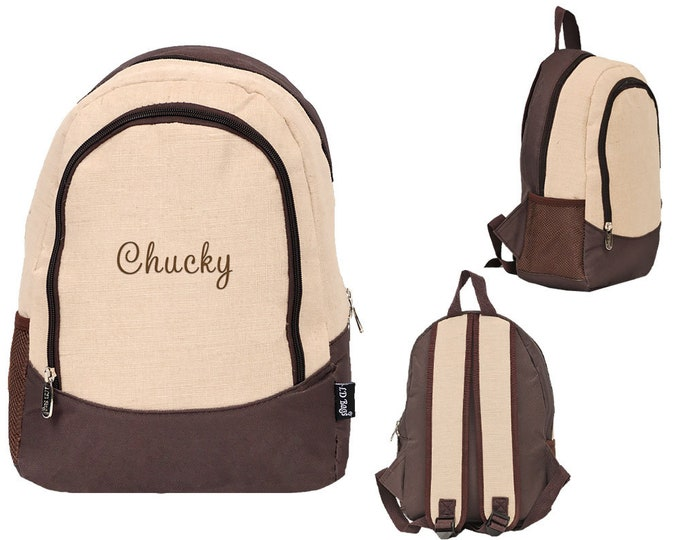 Personalized Kids Brown Juco Toddler Back to School Backpack | Monogrammed Toddler Book Bag | Childrens Kindergarten Book Sack | Brown Juco