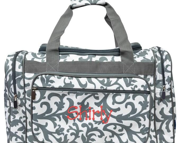 "Personalized Duffle Bag | Monogrammed Duffel Bag | Overnight Bag | Weekender Bag | Cheer Bag | Bridesmaid Gift | Grey Damask Duffle Bag 20"""