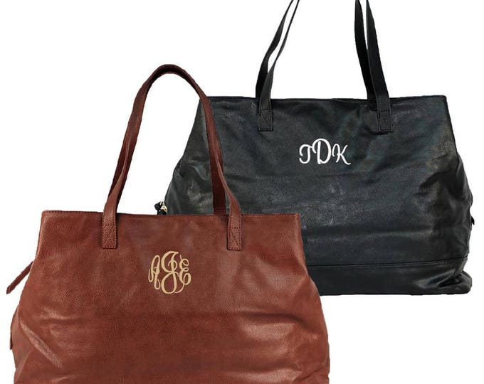 Monogrammed Vegan Leather Tote | Large Personalized Tote | Women's Office Tote | Camel Cambridge Travel Bag | Black Cambridge Travel Bag