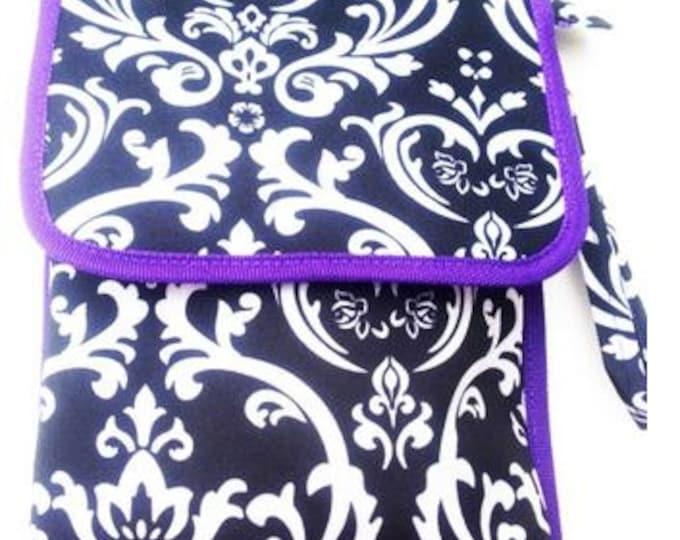 Monogrammed Handheld Carry Case | Personalized Tablet Carry Bag | Black Damask Purple Trim