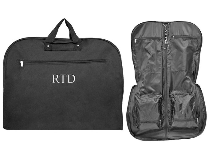 Monogram Garment Bag   Travel Garment Bag   Luggage Carrier   Personalized Unisex Garment Bag   Cheer Dance Garment Bag   Black Garment Bag