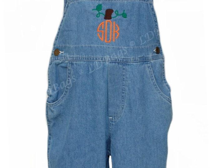 Toddler Overalls   Pumpkin Monogram   Boys Overalls   Personalized Overalls   Embroidered Overalls   Toddler Girls Overalls   Size 5/6