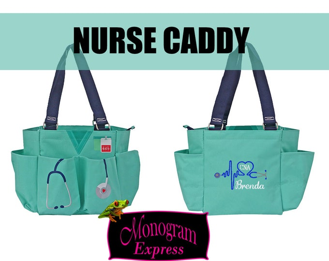 Personalized Nurse Caddy | Mint Nurse Utility Bag | Monogrammed Nurse Bag | Nurse Organizer Tote | Heart Stethoscope Design | Mint Caddy
