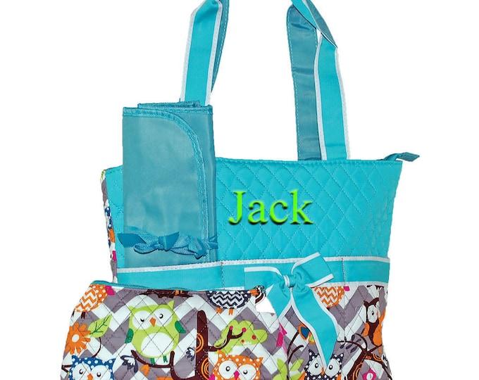 Personalized Diaper Bag | Owl Diaper Bag | Girls Diaper Bag | Monogrammed Diaper Bag | Changing Bag | Baby Diaper | Gray Chevron Aqua Trim