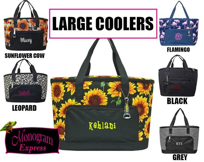 Monogrammed Cooler | Sunflower Cooler | Flamingo Cooler | Grey Cooler | Black Cooler | Sunflower Cow Cooler | Personalized Cooler