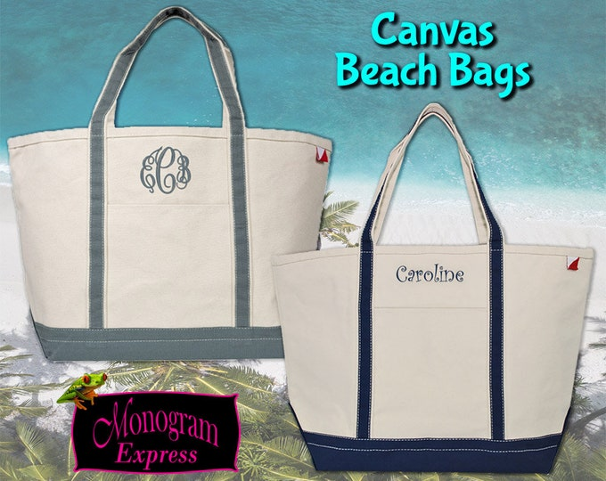 Monogrammed Tote Bag | Personalized Tote | Beach Tote | Canvas Tote | Canvas Bag | Heavy Duty Tote | Canvas Boat Bag | Boat Tote Large